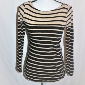 J. Crew Striped Painters Tee Tan and Black